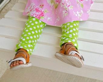 Green and White polka dot leggings- Toddler Leggings- Baby Leggings
