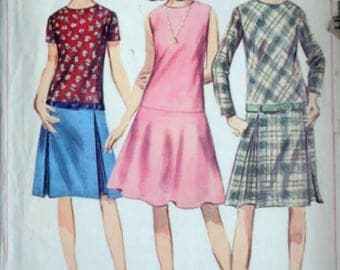Vintage 60's Simplicity 6840 Sewing Pattern, Misses' One-Piece Drop Waist Dress with Two Skirts, Size 12, 32 Bust, Retro 1960's Fashion