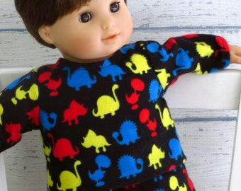 15 inch Doll Clothes Flannel Dinosaur Pajamas