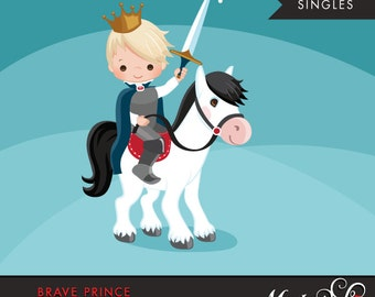 Brave Prince Clipart. Cute prince graphic, horse, crown, single clipart. Blonde boy, prince illustration, kingdom, sword, commercial use