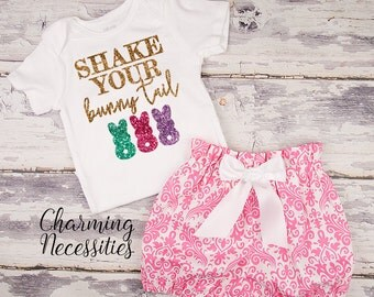 Baby Girl Easter Outfit, Toddler Clothes, Glitter Top High Waist Bloomers, Hot Pink Damask, Shake Your Bunny Tail Charming Necessities