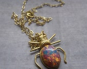 Beetle Necklace, Insect Necklace, Bug Necklace, Insect Jewelry, Glass Fire Opal Pendant, Entomologist Gift