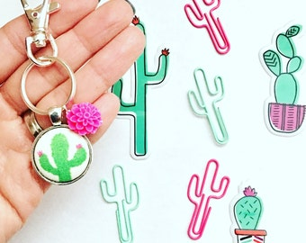 Cactus Keychain, Fabric Button Keychain, Keychain, Cactus Plant, Fabric Button