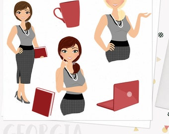 Woman business character clipart,  girl boss clipart set with blonde, brunette and auburn hair (Georgia  L103)