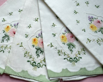 Linen Tea Towels Madeira Fine Hand Embroidery Marghab Design Green and White with Pastel Flowers Set of 4