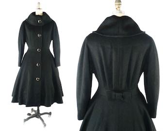 "FREE US SHIP - Vintage Princess Coat // 1950s Coat // 50s Coat // Black Wool Coat // Nipped Waist Coat // Flared Coat - sz M - 32"" Waist"