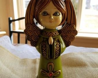 Vintage Green Eyed Angel Wearing Crown Figurine, Christmas Jewel