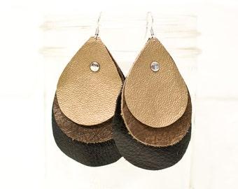 recycled, leather teardrop earrings, teardrop earrings, boho earrings, earrings, dangle earrings, drop earrings, tassel earrings, stacylynnc