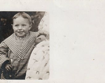 Original Vintage RPPC Photograph Small Toddler Boy 1900s-10s
