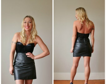 1990s Firenze Leather Skirt Mini Skirt >>> Size Extra Small