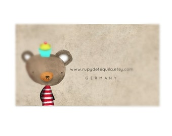 100 Bear and Cupcake Business Cards , Maybe with 100 Compliment cards -  Free shipping - Unique Handmade Art