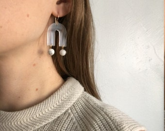 Modern Statement Earrings - Translucent Lucite Earrings - Abstract Shape Earrings - Clear Transparent - White and Gold