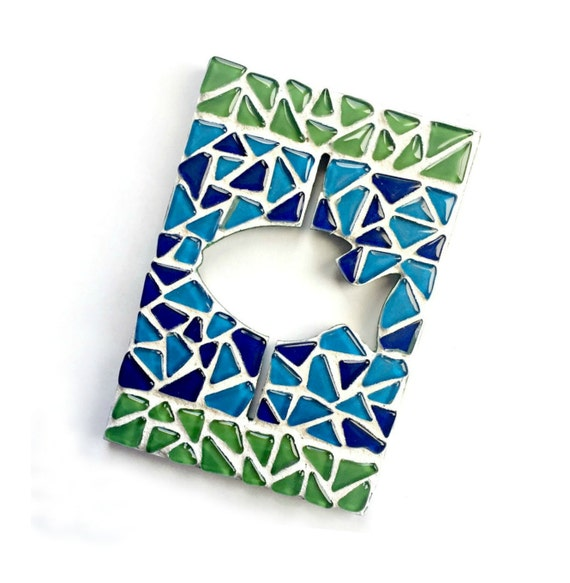 Mosaic Fish Plaque, Mosaic Fish Art Wall Hanging, Fish Wall Decor, Blue Green Fish Wall Decor, Mosaic Fish Bathroom Art, Blue Green Fish