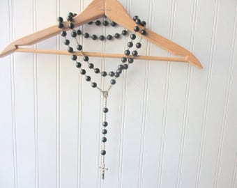 Large vintage rosary statue rosary decor rosary black prayer beads 28-29 inches Catholic Religious Spiritual Divine decor