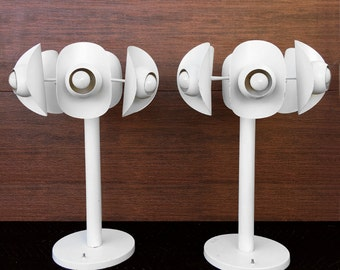 Spaceage Large White Mod Table Lamps Pair Mid Century Modern Vintage Panton Era