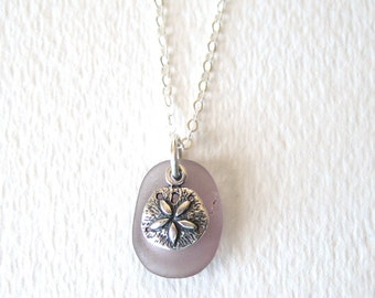 Rare Purple Sea Glass Necklace with Sterling Silver Sand Dollar Charm