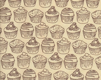 Tan Cupcake Love At First Bite Print 100% Cotton Quilting Fabric