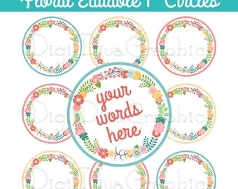 Editable - Floral Wreath Bottle Cap Collage Digital Set 1 Inch Circle 4x6 - Instant Download - BC1131