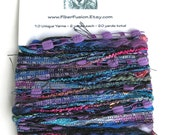 Art Yarn Bundle Yarn Sampler 10 Unique Yarns 2 yards each 20 Yards Total for DIY Crafts Purple Black - Royal Blue Mix