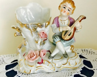 Vintage Ceramic Spill Vase Planter Colonial Boy with Lute and Flowers Figurine Home Decor Collectible