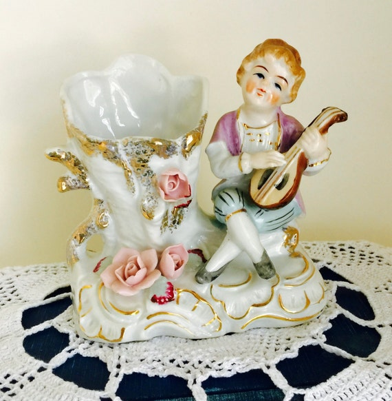 Vintage Ceramic Spill Vase Planter Colonial Boy with Lute and Flowers Figurine Home Decor