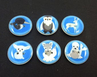 "6 Arctic Animal Buttons.  Arctic fox, Fennec Fox, Narwhal, owl, deer, seal Sewing Buttons. 3/4"" or 20 mm Round."