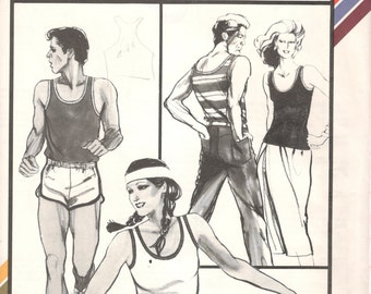 Stretch & Sew 1120 1980s Misses Mens U Neck Tank Top Pattern Knits Womens Mens Sportswear Vintage Sewing Bust 28 - 44 Chest 34 - 48 UNCUT