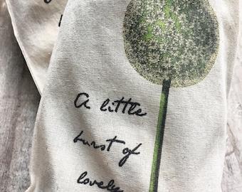 Gift bag, project bag, allium flower