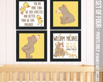 Personalized prints for baby's nursery Cute Bear and Ducklings -personalized birth announcement SET of FOUR paper prints FBP-002