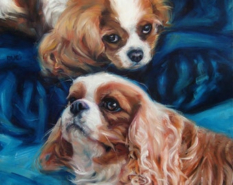 "Damsels-Spaniels, custom Dog paintings, Pet Portrait Oil Painting by puci, 10x12"" w/2 pets"