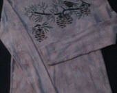 """Airbrushed """"CHICKADEE"""" on Pine Branch Bella Longsleeve Tee 100% Cotton Size Large"""