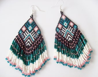 Blue black earrings , Beaded dangle earrings , Native American style earrings , Beadwork earrings , Seed bead dangles , Dangle drop earrings