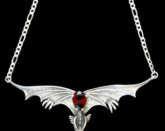 Silver Dragon Necklace Gothic Dragon Neckpiece with Large Garnet Dragon Jewelry Renaissance Necklace Gothic Dragon Pendant Garnet Jewelry