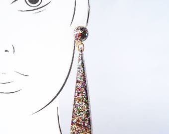 Handmade Triangle Drop Earrings. Large long chandelier facet geometric statement dangle resin earrings in multi coloured glitter