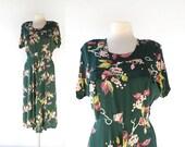 1940s Vintage Dress | Le Fleuriste | Novelty Print Dress | 40s Dress | Medium M