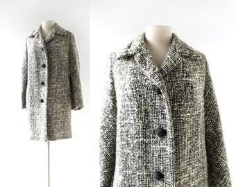 Vintage 1950s Coat | Tweed Coat | 50s Coat | Small S