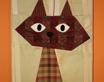 Quirky Cat Patchwork Wall Hanging - 11x14 Canvas