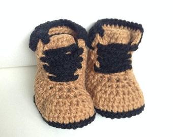Baby Booties Boy Crochet Hiking Boots