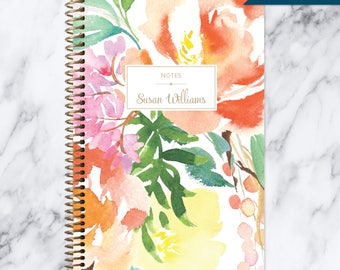 NOTEBOOK personalized journal | lined notebook | personalized gift | stocking stuffer | spiral bound | citrus watercolor floral