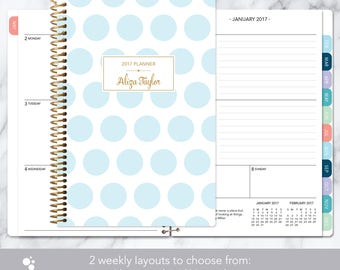 planner 2017 & 2018 calendar | add monthly tabs custom weekly student planner | personalized planner agenda | blue gold polka dots