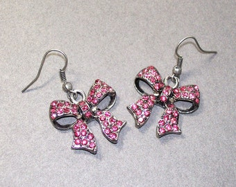Pink Perfection - Rhinestone Ribbon Bow Earrings - Dangle Earrings