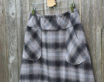 Flannel Skirt, Mammoth Flannel Plaid Skirt, Warm Winter skirt, Simple A-line, Skirt with Pockets, Custom made in all sizes, and lengths