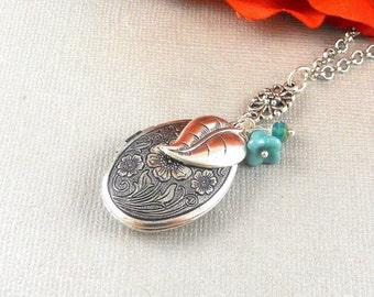VALENTINA Silver Romantic Locket, Locket Necklace, Heart Leaf, Heart Locket Pendant, Picasso Turquoise, Love Locket Necklace