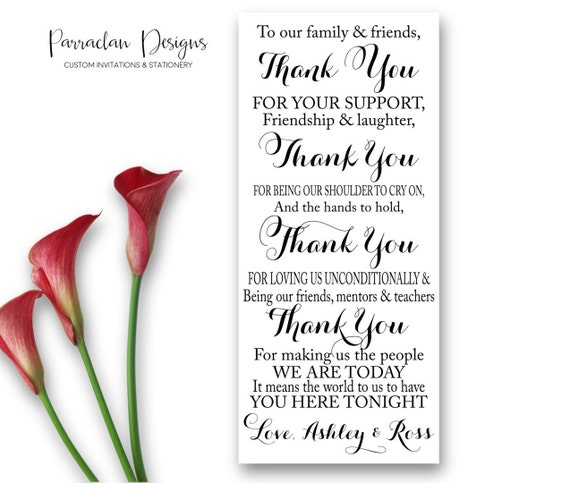 Wedding Reception Thank You Card to Your Guests | To Our Friends and Family | Wedding Favor | FS02