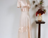 RESERVED ON LAYAWAY Vintage 1930s Dress - Glamorously Glossy Peach Pink Satin Late 30s Gown with Appliqued Sheer Net Overdress