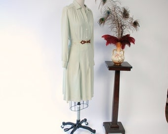 Vintage 1940s Set - Soft Sage Green Gabardine Skirt Set with Western Inspired Belt Detail