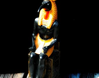 Gorgeous Gilded Vintage Large Golden Seated Scribe Thoth Egyptian God of Wisdom Statue Djeheuty Throne Double Plumed Crown Eye of Ra