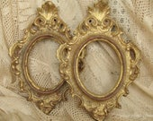 Small Vintage Oval Frame | Ornate Scroll Antique Gold Gilt | Shabby French | Rococo | Italian Florentine Frame
