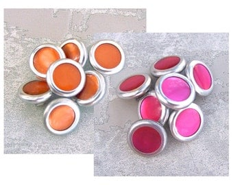 Mid-Century Metal Buttons, 15mm 5/8 inch - CHOOSE Hot Pink, Orange - 7 VTG NOS Retro Mod Silver Tone Metal Buttons w/ Pearl Inset MT38 MT21