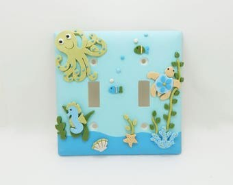 Under the Sea Childrens Light Switch Cover or Outlet Cover - Childrens Nautical Nursery - Turquoise, Blue, Green, Aqua